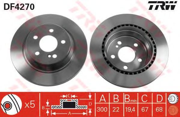 Диск тормозной TRW/Lucas DF4270 комплект 2 штDF4270