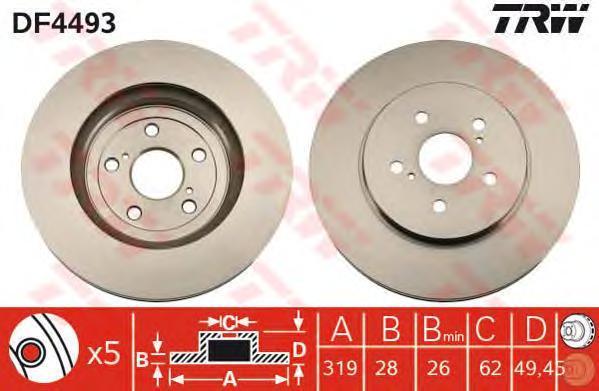Диск тормозной TRW/Lucas DF4493 комплект 2 штDF4493