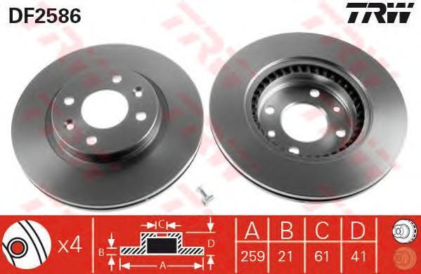 Диск тормозной TRW/Lucas DF2586 комплект 2 штDF2586