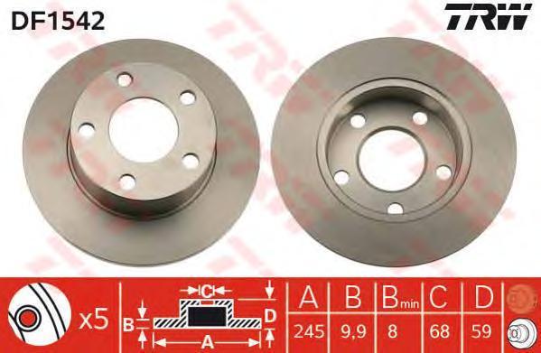 Диск тормозной TRW/Lucas DF1542 комплект 2 штDF1542