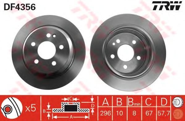 Диск тормозной TRW/Lucas DF4356 комплект 2 штDF4356