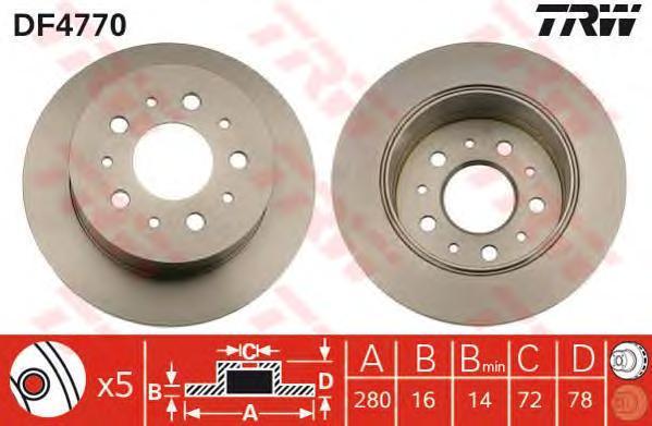 Диск тормозной TRW/Lucas DF4770 комплект 2 штDF4770