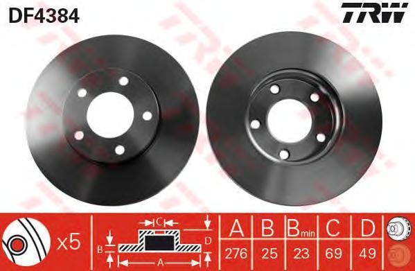 Диск тормозной TRW/Lucas DF4384 комплект 2 штDF4384
