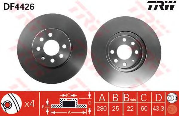 Диск тормозной TRW/Lucas DF4426 комплект 2 штDF4426