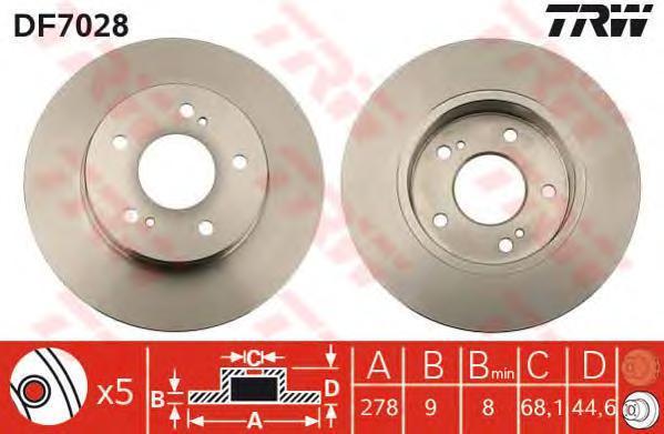 Диск тормозной TRW/Lucas DF7028 комплект 2 штDF7028