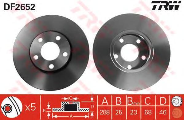 Диск тормозной TRW/Lucas DF2652 комплект 2 штDF2652
