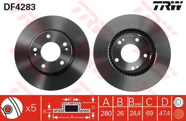 Диск тормозной TRW/Lucas DF4283 комплект 2 штDF4283