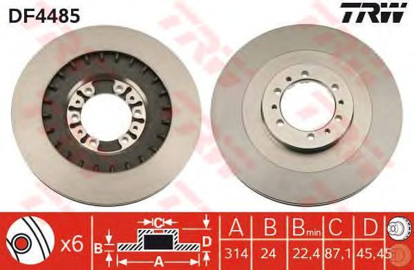 Диск тормозной TRW/Lucas DF4485 комплект 2 шт trw jgm1054t trw амортизатор