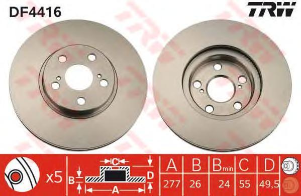Диск тормозной TRW/Lucas DF4416 комплект 2 штDF4416