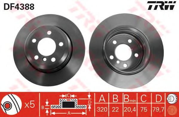 Диск тормозной TRW/Lucas DF4388 комплект 2 штDF4388