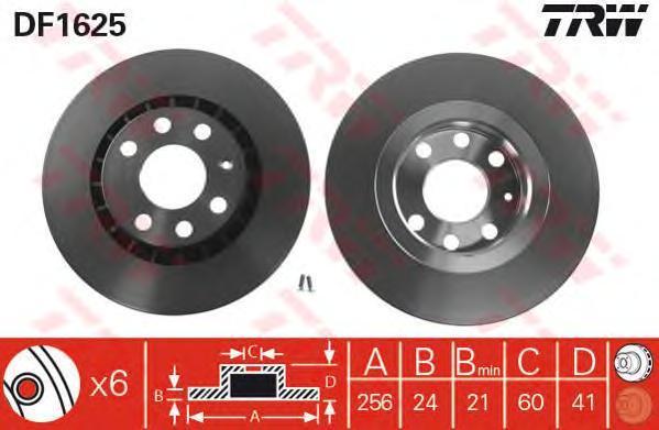 Диск тормозной TRW/Lucas DF1625 комплект 2 штDF1625
