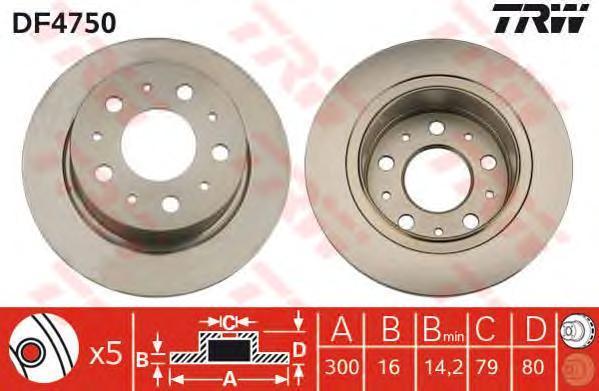 Диск тормозной TRW/Lucas DF4750 комплект 2 штDF4750