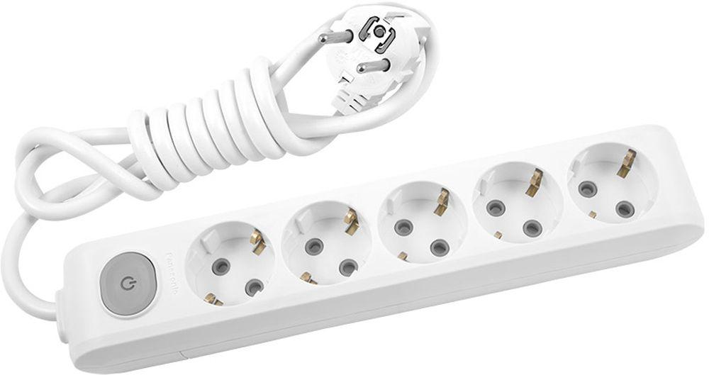 Удлинитель сетевой Panasonic X-tendia, с защитой от детей, с выключателем, цвет: белый, 5 розеток, 5 м5492616 Ампер, 3500 Ватт, латунные контакты, кронштейн-держатель, защитнык шторки, провод ПВС, сечение 1,5мм.Предназначен для подключения удаленных от стационарной розетки электроприборов, имеющих шнур с круглой вилкой.