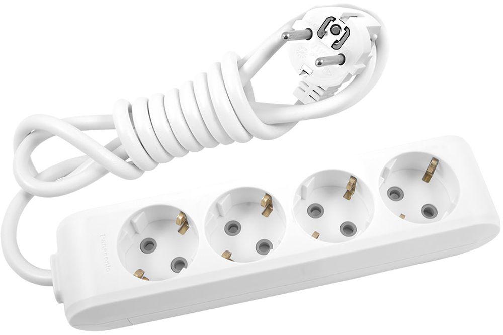 Удлинитель сетевой Panasonic X-tendia, с защитой от детей, цвет: белый, 4 розетки, 3 м. 54936 сетевые фильтры belsis сетевой удлинитель 4 розетки 4 usb порта длина 1 500