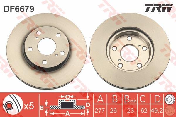 Диск тормозной передний TRW/Lucas DF6679 комплект 2 штDF6679