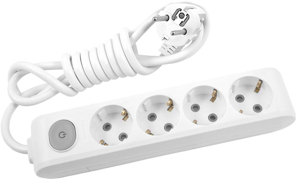 Удлинитель сетевой Panasonic X-tendia, с защитой от детей, с выключателем, цвет: белый, 4 розетки, 2 м5493816 Ампер, 3500 Ватт, латунные контакты, кронштейн-держатель, защитнык шторки, провод ПВС, сечение 1,5мм.Предназначен для подключения удаленных от стационарной розетки электроприборов, имеющих шнур с круглой вилкой.