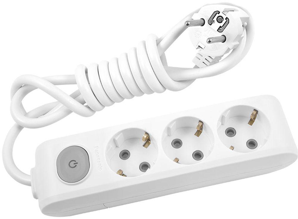 Удлинитель сетевой Panasonic X-tendia, с защитой от детей, с выключателем, цвет: белый, 3 розетки, 3 м. 549505495016 Ампер, 3500 Ватт, латунные контакты, кронштейн-держатель, защитнык шторки, провод ПВС, сечение 1,5мм.Предназначен для подключения удаленных от стационарной розетки электроприборов, имеющих шнур с круглой вилкой.