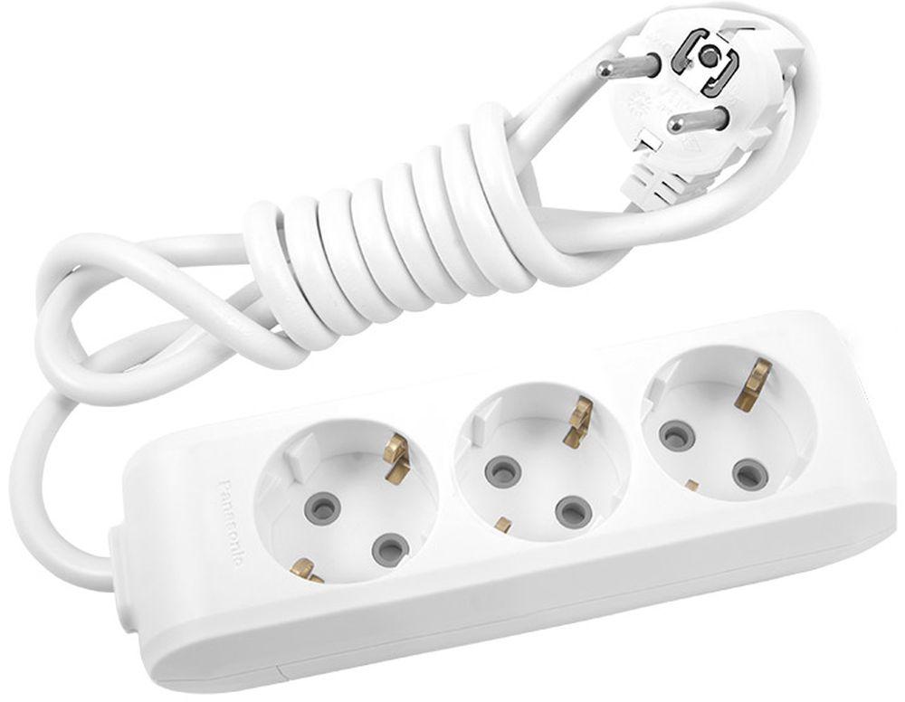 Удлинитель сетевой Panasonic X-tendia, с защитой от детей, цвет: белый, 3 розетки, 3 м. 549525495216 Ампер, 3500 Ватт, латунные контакты, кронштейн-держатель, защитнык шторки, провод ПВС, сечение 1,5мм.Предназначен для подключения удаленных от стационарной розетки электроприборов, имеющих шнур с круглой вилкой.