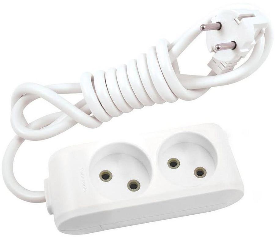 Удлинитель сетевой Panasonic X-tendia, с защитой от детей, цвет: белый, 2 розетки, 3 м. 549705497016 Ампер, 3500 Ватт, латунные контакты, кронштейн-держатель, защитнык шторки, провод ПВС, сечение 1,5мм.Предназначен для подключения удаленных от стационарной розетки электроприборов, имеющих шнур с круглой вилкой.