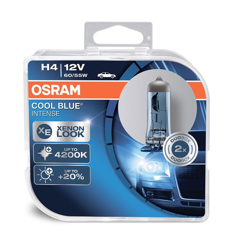 Лампа галогенная Osram H4 Cool Blue Intense 12V, 60/55W, 4200 К, 2 штOsram 64193CBIHCB 2 штЛампа OsramCool Blue Intense H4 создает высококонтрастный, близкий к естественному свет, который является более приятным для глаз, чем традиционный свет фар.Свет OsramCool Blue Intense способствует более высокой концентрации водителя и делает поездку менее утомительной. Лучше отражаются дорожные знаки и разметка, чем обеспечивается большая безопасность в темное время суток.Лампа способна работать на мощности 60/55 Вт, световой поток при этом будет составлять 1650/1000 лм соответственно.Особенности:Стильный бело-голубоватый.Цветовая температура 4200 К соответствует стандартной ксеновой лампеУвеличенная на 20% яркость по сравнению со стандартными лампамиВысококонтрастное освещение дорожного полотна, знаков и разметкиЦветность света, близкая к естественному дневному светуОптимизированный дизайн с серебряным куполом, идеальный для фар с прозрачными стекламиСтильный вид для ориентированных на дизайн водителейНапряжение: 12 вольт