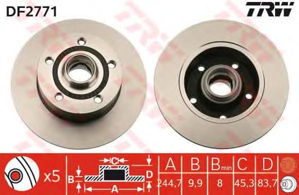 Диск тормозной TRW/Lucas DF2771 комплект 2 штDF2771