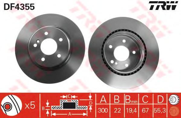 Диск тормозной TRW/Lucas DF4355 комплект 2 штDF4355