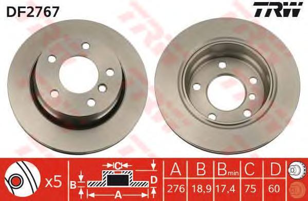 Диск тормозной TRW/Lucas DF2767 комплект 2 штDF2767