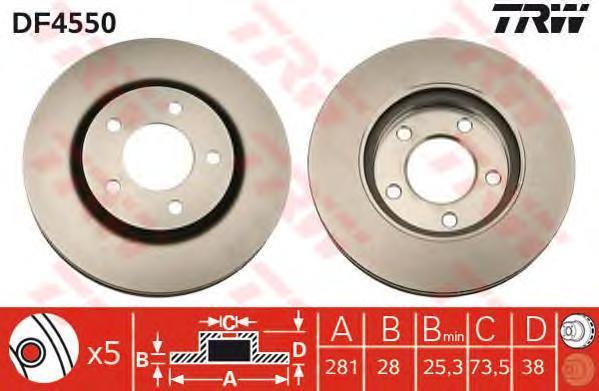 Диск тормозной TRW/Lucas DF4550 комплект 2 штDF4550