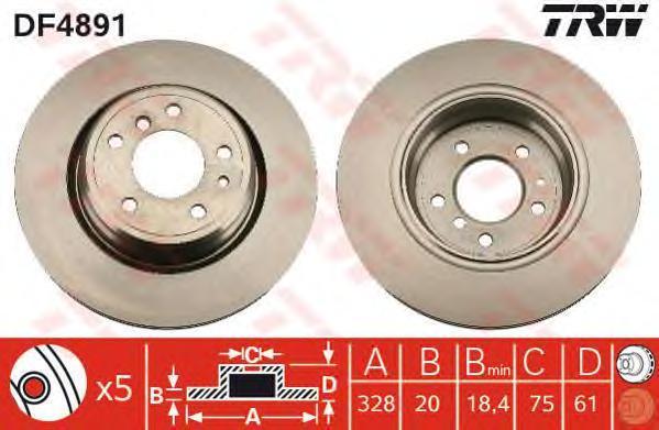 Диск тормозной TRW/Lucas DF4891 комплект 2 штDF4891
