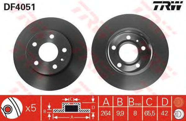 Диск тормозной TRW/Lucas DF4051 комплект 2 штDF4051