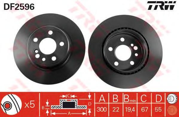 Диск тормозной TRW/Lucas DF2596 комплект 2 штDF2596
