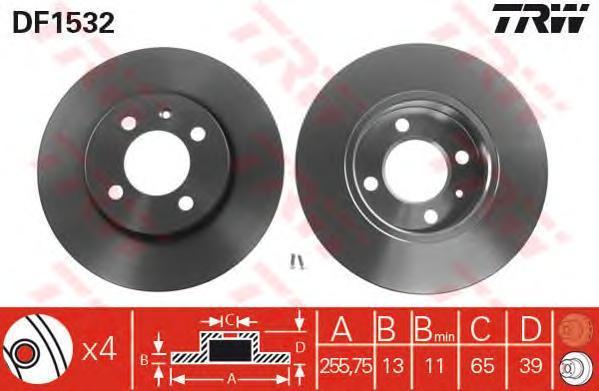 Диск тормозной TRW/Lucas DF1532 комплект 2 штDF1532