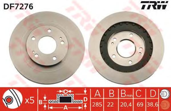Диск тормозной TRW/Lucas DF7276 комплект 2 штDF7276