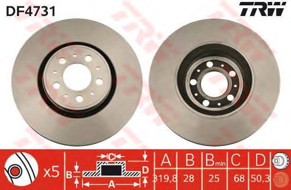 Диск тормозной TRW/Lucas DF4731 комплект 2 штDF4731