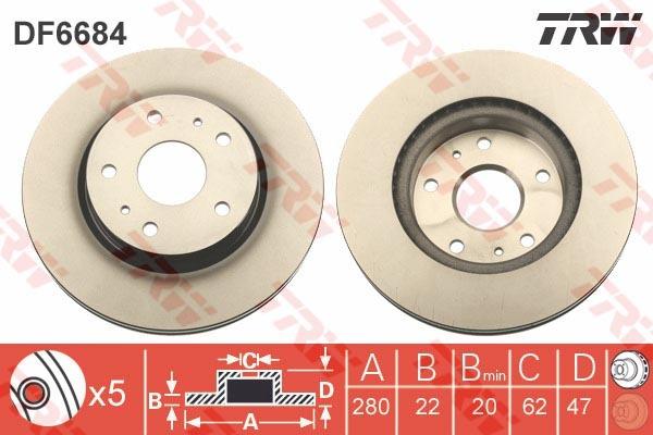 Диск тормозной передний TRW/Lucas DF6684DF6684