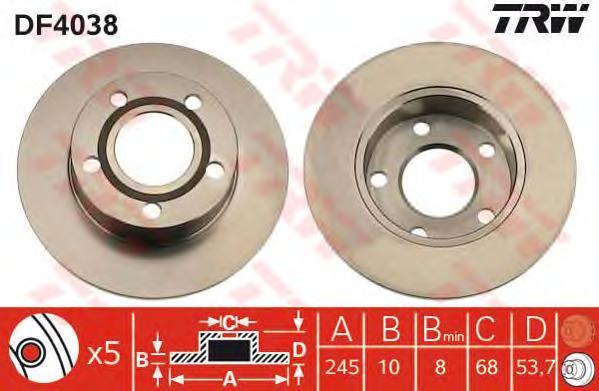 Диск тормозной TRW/Lucas DF4038 комплект 2 штDF4038