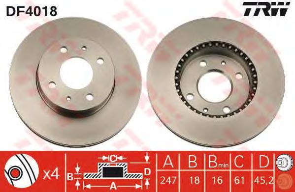 Диск тормозной TRW/Lucas DF4018 комплект 2 штDF4018