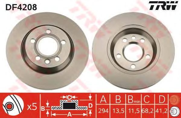 Диск тормозной TRW/Lucas DF4208 комплект 2 штDF4208