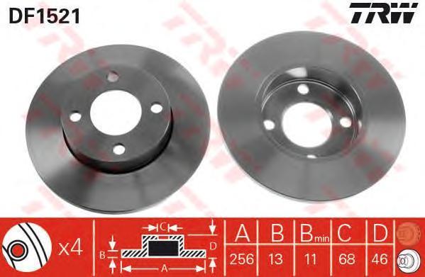 Диск тормозной TRW/Lucas DF1521 комплект 2 штDF1521