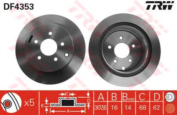Диск тормозной TRW/Lucas DF4353 комплект 2 штDF4353