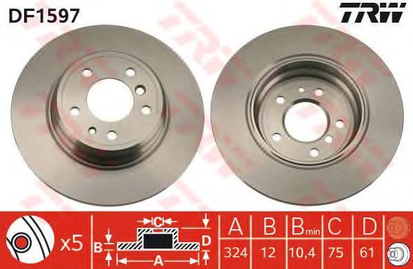 Диск тормозной TRW/Lucas DF1597 комплект 2 штDF1597