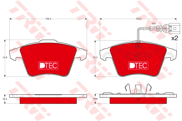 Колодки тормозные передние TRW/Lucas GDB1651DTEGDB1651DTE