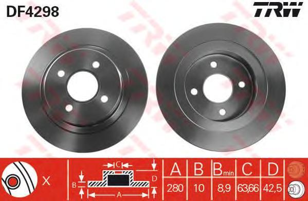 Диск тормозной TRW/Lucas DF4298 комплект 2 штDF4298