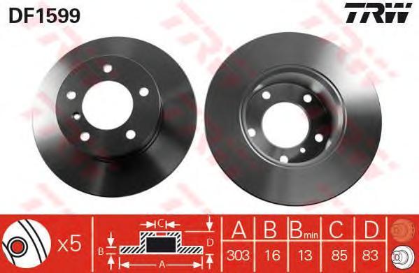 Диск тормозной TRW/Lucas DF1599 комплект 2 штDF1599