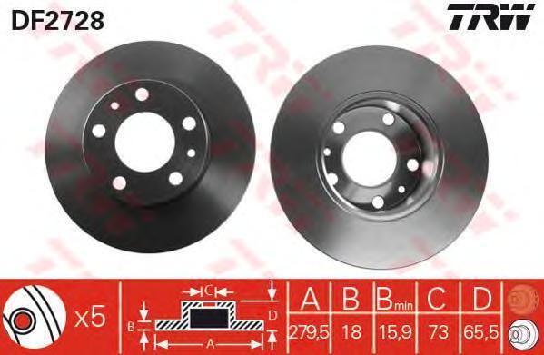 Диск тормозной TRW/Lucas DF2728 комплект 2 штDF2728