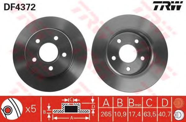 Диск тормозной TRW/Lucas DF4372 комплект 2 штDF4372