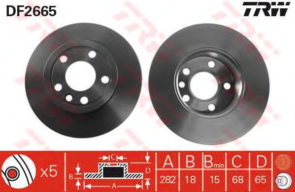 Диск тормозной TRW/Lucas DF2665 комплект 2 штDF2665