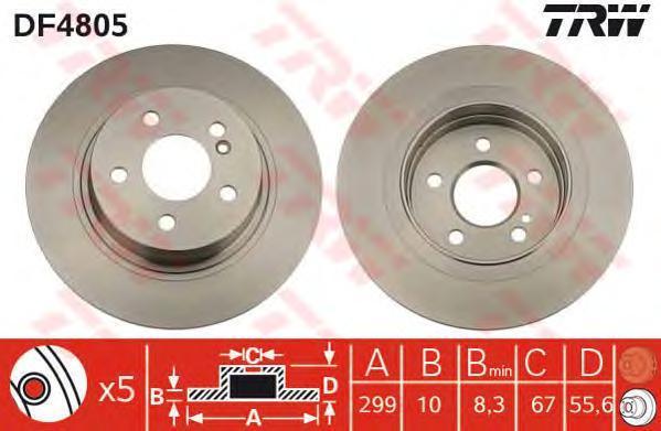 Диск тормозной TRW/Lucas DF4805 комплект 2 штDF4805