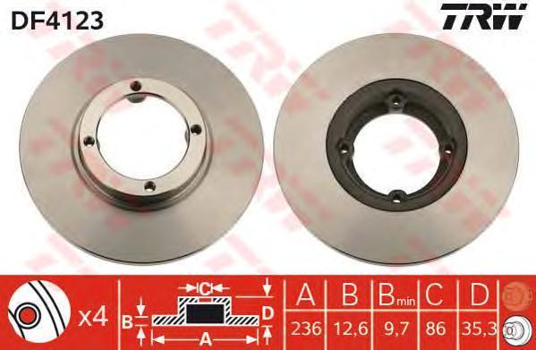 Диск тормозной TRW/Lucas DF4123 комплект 2 штDF4123