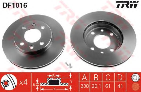 Диск тормозной TRW/Lucas DF1016 комплект 2 штDF1016